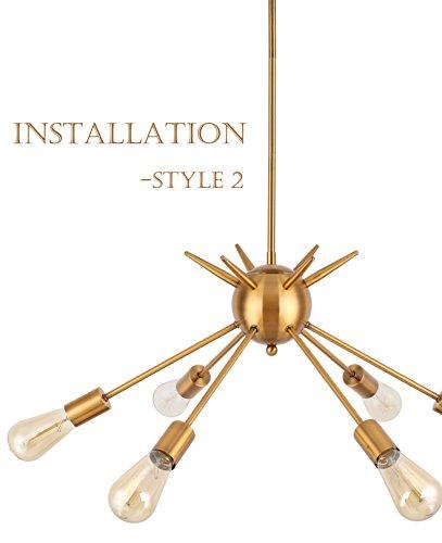 Cerdeco 6 Lights Pendant Light Brass Plated, UL Listed