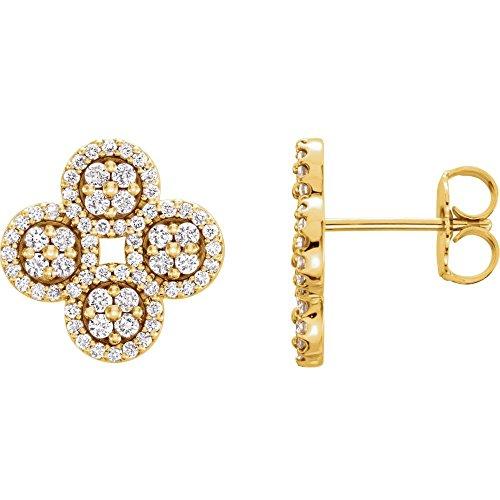 - 14K Yellow Gold 1/2 CTW Diamond Clover Earrings