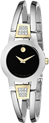 Movado Women s 604983 Amorosa Diamond-Accented Stainless Steel Bangle Watch