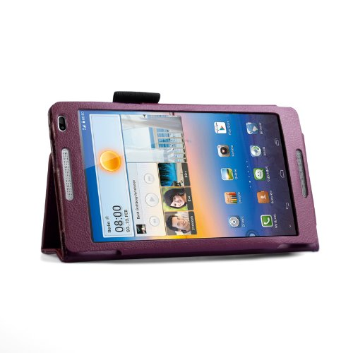Yousave Accessories Huawei MediaPad M1 Case Purple PU Leather Stand Cover With Mini Stylus Pen