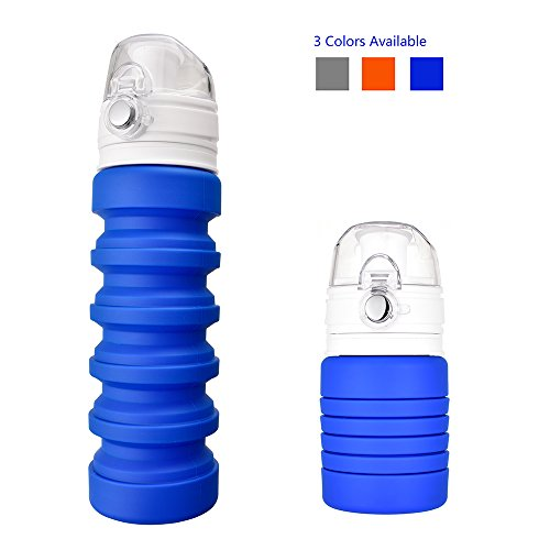HUANXU Collapsible Water Bottles Travel BPA Free Silicone Foldable Portable Leak Proof Sports Water Bottle for Kids 500 ml Blue