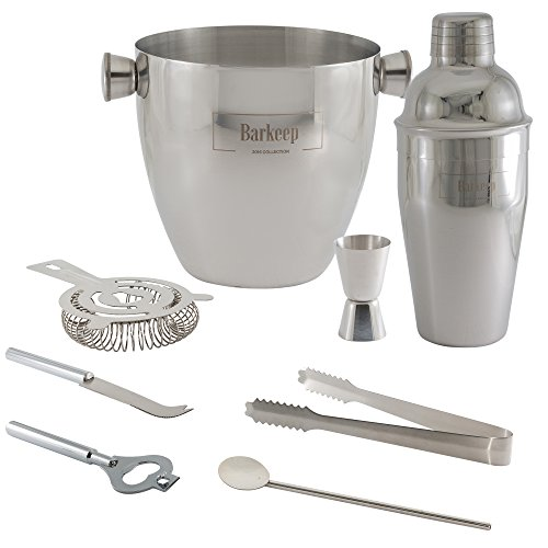 BARTENDER-KIT-Professional-Cocktail-Bar-Set-Includes-Manhattan-Shaker-Strainer-Jigger-and-Ice-Bucket-Additional-8-piece-Stainless-Steel-Tool-Set-Dishwasher-Safe