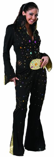 [Deluxe Girl Rocker Elvis Impersonator Jumpsuit- Theatrical Quality (Medium, Black)] (Elvis Impersonator Costume)