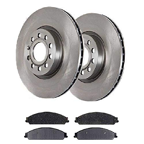 (Prime Choice Auto Parts RSCD64159-64159-1070-2-4 4 Front Ceramic Brake Pads and 2 Front Brake Rotors)