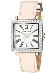 Anne Klein Womens AK/2939SVLP Swarovski Crystal Accented Silver-Tone and Light Pink Leather Strap Watch