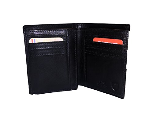 Spikes & Sparrow Baxter RFID bifold wallet w/foldout ID Flap in Black - Black Signature Leather Spike