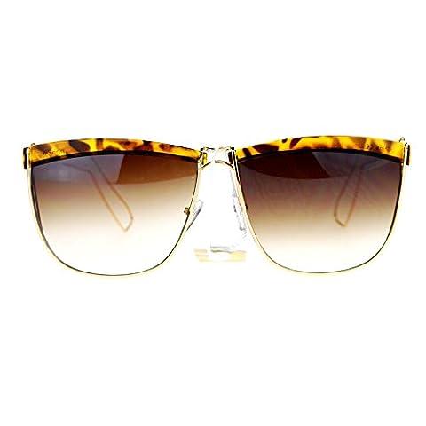 SA106 Eye Brow Half Rim Wire Frame Rectangular Mob Sunglasses Gold Tortoise - Wire Frame Gradient Sunglasses