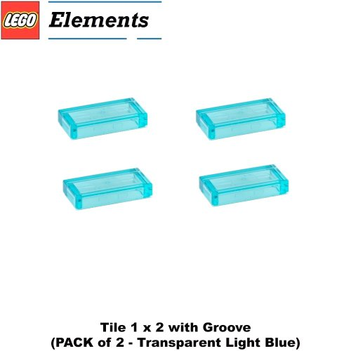 Lego-Parts-Tile-1-x-2-with-Groove-PACK-of-4-Transparent-Light-Blue