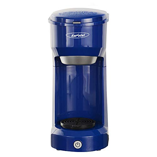 Single Serve Coffee Maker Brewer for Single Cup, K-Cup Coffeemaker With Permanent Filter, 6oz to 14oz Mug, One-touch Control Button with Illumination, Blue