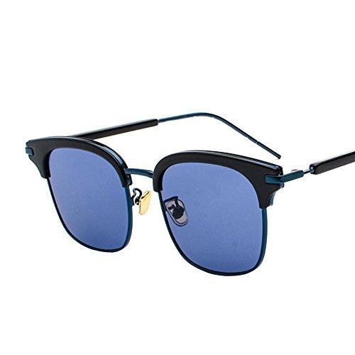 Aoligei Lunettes de soleil Lady Chao Mans rond visage personnalité carré demi cadre lunettes de soleil hommes pilote miroir E