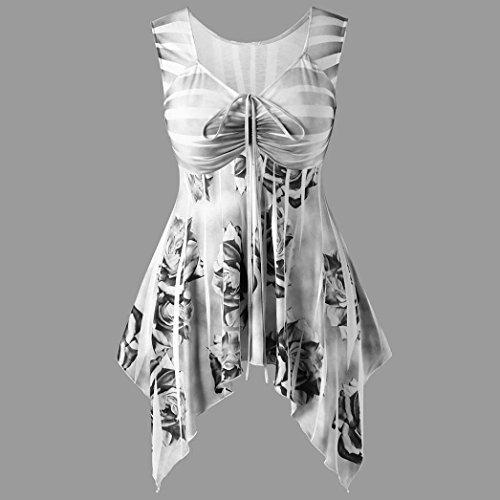 Hem Irrgulier Dbardeur Rond Gris t Shirt Tops Femme T Impression Sexyville sans Dbardeur Col Mode Manche Chemisier AO7FXXqnP