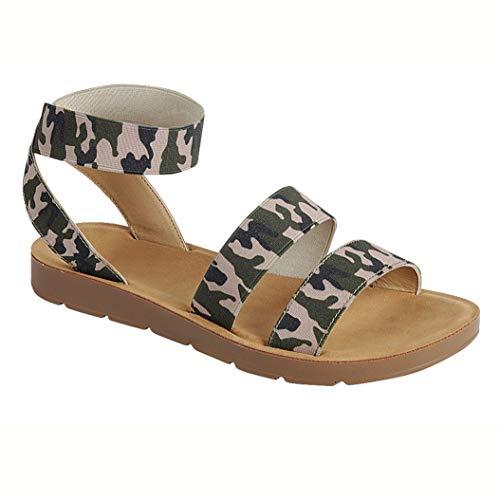 - Women's Flat Sandals Cross Slingback Double Elastic Band Strappy Open Toe Slip-on Summer Slides Camouflage 8