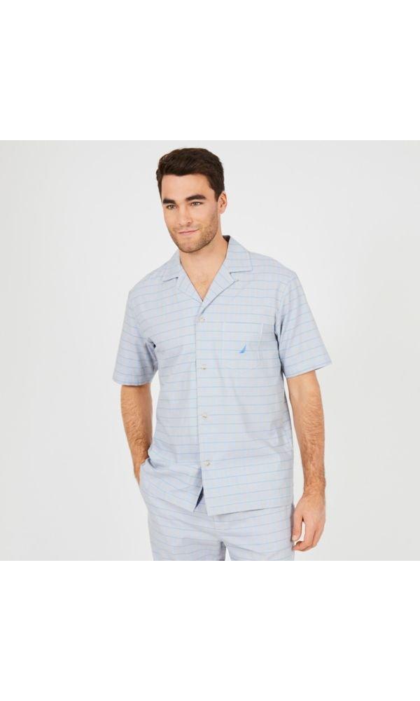 Nautica Mens Grey Herringbone Plaid Woven Sleep Top Nautica Men' s Sleepwear 300165