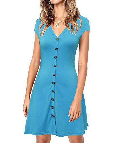 Lyrur Women's Adorable Summer Sundresses V Neck Front Buttons Mini Skater Light Blue Dress(S, 9086-Sky Blue)