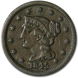 (1845 Large Cent VF Cent Very Fine )
