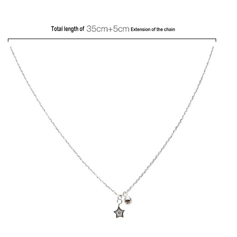 HighPlus Crystal Star Bead Pendant Chain Silver Necklace for Women