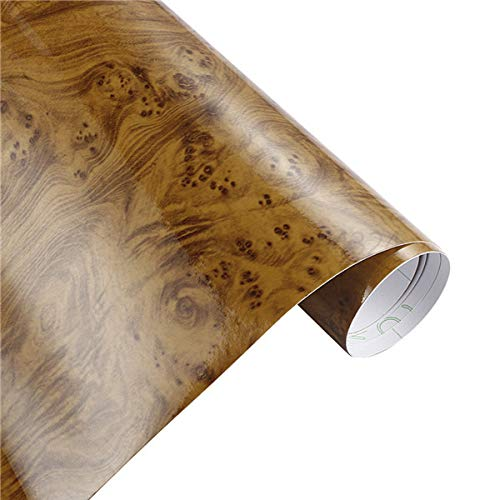 30x100cm Glossy Wood Grain Wrap for Car-Glossy Wood Grain decal Sheet-PVC Glossy Wood Grain Textured Cover-Car Interior Decorations Film Vinyl-Decoration Stickers Vinyl Waterproof Furniture (N02)