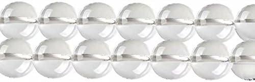 Abalorios de Piedras Preciosas Cristal de Roca Naturales Redondos 8mm Perlas para Fabricar Joyas Collares Pulsera Pendientes Cerca de los 38cm Aprox 46 Piezas