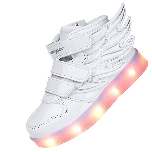 Angin-Tech Angel Serie Zapatillas LED 7 Colores de Carga USB para Intermitente Zapatos con Luces de Los Niños y Niñas para la Acción de Gracias de Navidad con el Certificado CE Blanco