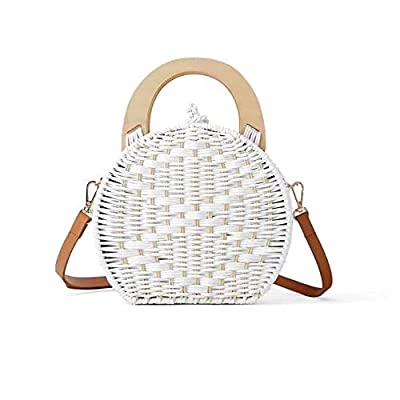 Leiyini Women Straw Crossbody Bag Crochet Shoulder Summer Bag Round Handbags Beach Bag Round Rattan Beach Bag Small Messenger Bag Single Shoulder Bag for Women Summer Woven Bags