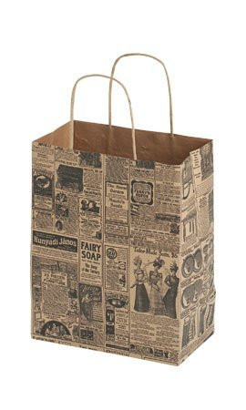 NEW LOT OF 100 Newsprint Paper Paper Shopping Gift bags 8X4X10  HANDLES