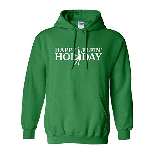 zerogravitee Happy Elfin' Holiday Adult Hooded Sweatshirt in Kelly Green with white text - Medium (Hoody Green Text White)