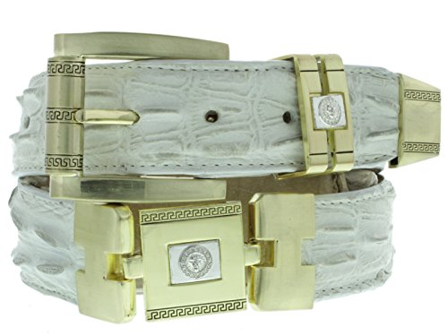 El Presidente - Men's White Leather Crocodile Tail Print Belt Gold Links 34 (Gold Crocodile Belt)