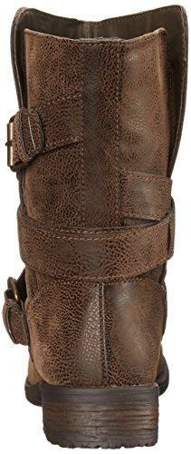 Buckle Rampage Brown Mid Motorcycle Calf Boot Women's Low Islet heel xqAa1