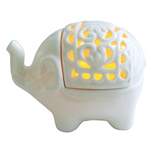 Elephant Votive Candle Holder - MyGift Decorative White Elephant Openwork Design Ceramic Tea Light Candleholder