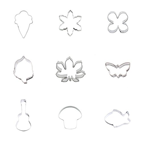 (9 Pieces Cookie Cutter Biscuit Baby Shark Mushroom Cello Butterfly Lotus Nuts Acorn Fruit Clover Leaf Snowflake Snow Flake Ice)