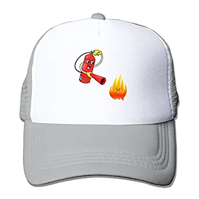 Cute Fire Extinguisher and Flame Firefighter Printing Unisex Adult Vintage Mesh Trucker Cap Hat Snap Back Meshback Cap Adjustable from Brecoy