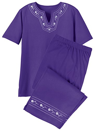 - Embroidered Capri Set Plus Size Violet