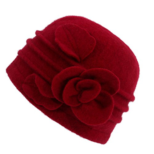 Dantiya Women's Winter Warm Wool Cloche Bucket Hat Slouch Wrinkled Beanie Cap with Flower; Red; One Size (Hat Slouch Ladies Red)