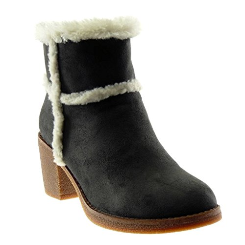 Block Booty Shoes Heel Fur cm high Boots Angkorly Fashion Grey Ankle 7 Boots Women's Snow wXwzqEZ