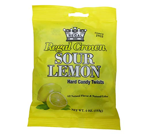 Regal Crown Sour Lemon Pegs Bags 4 Oz. Hard Candy Twists (All natural flavor & natural color)