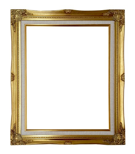 Ornate Baroque Gold Painted Wooden Frame with Cream Linen Liner Shabby Chic Picture Frame (16x20 w/ glass+back)
