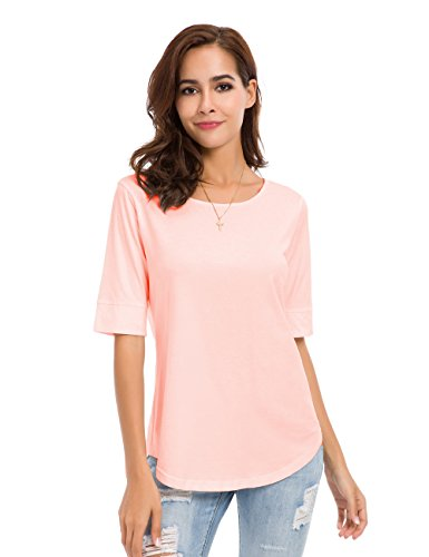 - MSHING Women's Summer Casual Loose Fitting Tops Simple Crew Neck Plain Half Sleeve T-Shirt Pink