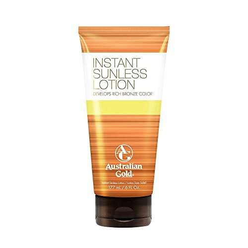 Australian Gold Instant Sunless Tanning Lotion, Rich Bronze Color with Fade Defy Technology, Energizes & Softens Skin, 6 Ounce