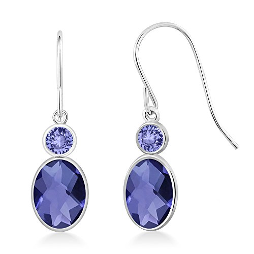 1.54 Ct Oval Checkerboard Blue Iolite Blue Tanzanite 14K White Gold Earrings