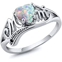 Promsup White Fire Opal 925 Silver Women Mom Gift Wedding Engagement Ring Size 6-10 (6)