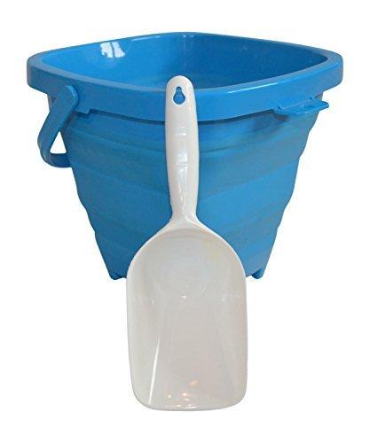 AquaVault Packable Pails. Collapsible Beach Bucket with Shovel- Aqua Blue by Packable Pails