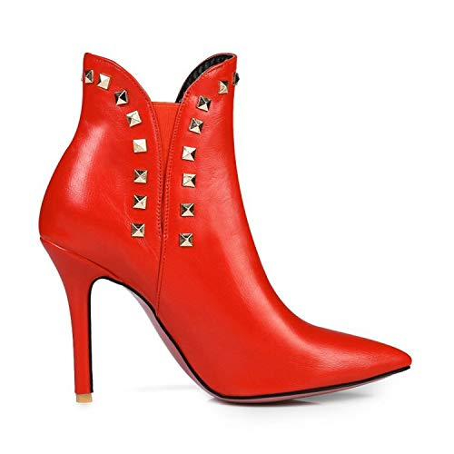A Haut Femmes Talon Avec Martin Fine Red Bottes Grande Fait Taille yqXpZHR6pn