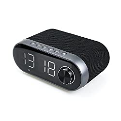 LHIABNN Bluetooth Speaker With Alarm Clock,Wireless Speaker with LED Clock and Radio,Retro Classical Wireless Speaker for Kids,Party,Bedroom,Camping (Black)