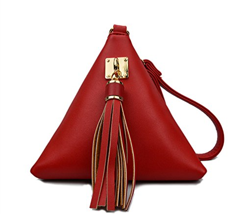 LIZHIGU Women's PU Leather Clutch Wallet Triangle Wristlet Purse With Wrist Strap Red