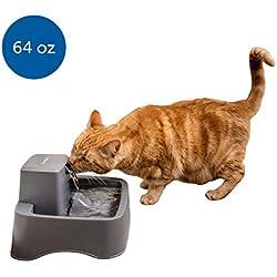PetSafe Drinkwell Original o Fuente de Agua para Mascotas de 1/2 galón - Fuente para Beber para Gatos y Perros pequeños, 1/2 galón, Gris, 1/2 Gallon Fountain