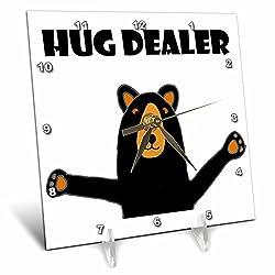 3dRose All Smiles Art Funny - Funny Black Bear giving Hug says Hug Dealer - 6x6 Desk Clock (dc_252606_1)