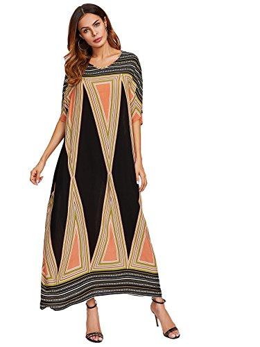 (Floerns Women's Short Sleeve Oversized Maxi Kaftan Dress Multi XL)