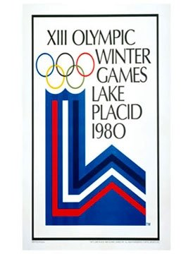 Vintage Ski World Lake Placid, NY, USA 1980 XIII Winter Olympic Games Official Poster, Image Size 13 x 18 inches