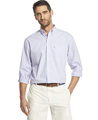 IZOD Men's Button Down Long Sleeve Stretch Performance Gingham Shirt, Candy Pink, Large