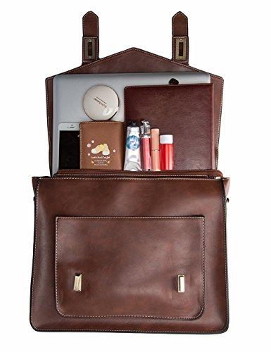 Ecosusi Women S Briefcase Messenger Laptop Bag Pu Leather